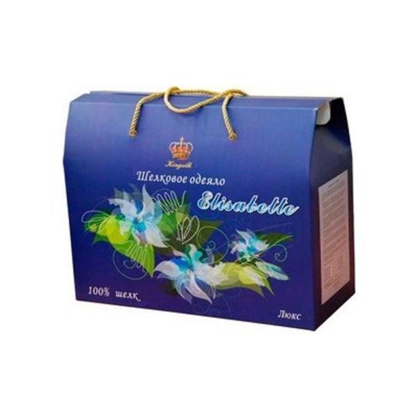 """Образец упаковки шелковое одеяло Люкс """"Elisabette"""" от Kingsilk (Кингсилк)."""