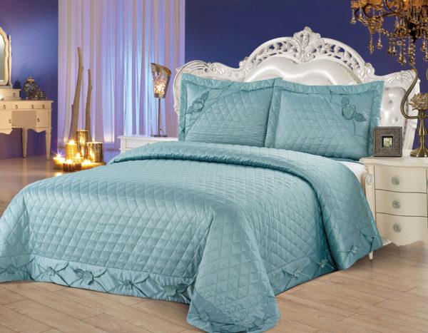Покрывало на кровать YG-11 однотонное стеганое - CottonNew.ru