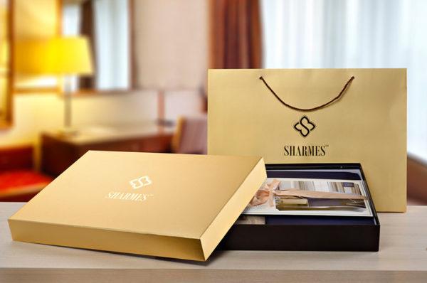 Образец подарочной упаковки постельного белья сатин Sharmes