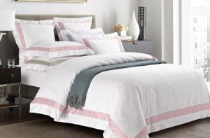 Постельное белье сатин Sharmes Prime (Белый/Нежно-розовый)