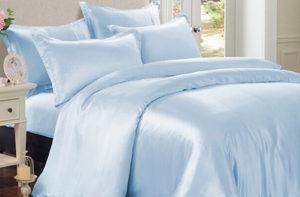 Шелковое постельное белье Luxe Dream Sky blue (Голубой) шелк 100%