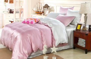 Шелковое постельное белье Luxe Dream Elite Серебряно-розовый шелк 100%