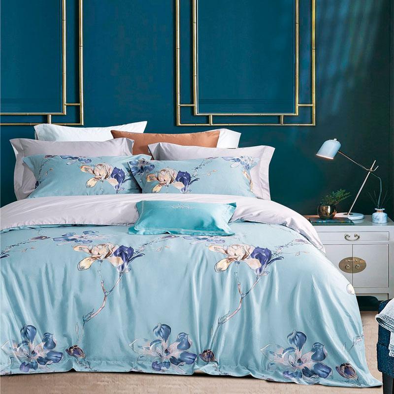 Постельное белье сатин Sharmes Magnolia-blue (Магнолия Блу) 100% хлопок Пима