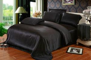 Шелковое постельное белье Luxe Dream Черный (простыня на резинке 180/200)