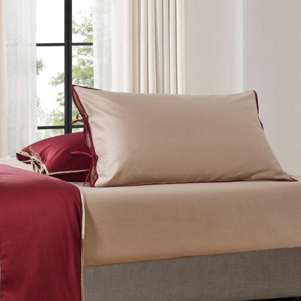 Постельное белье сатин Sharmes Luca (Серо-бежевый/бордовый) Solid