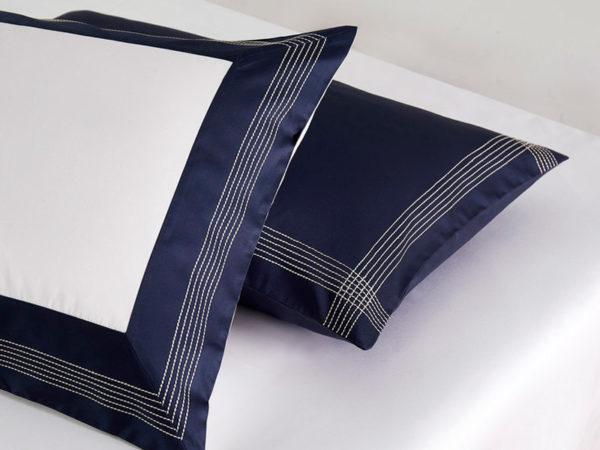 Постельное белье сатин Sharmes Merrow Stitch (Темно-синий)
