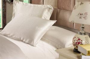 Шелковая наволочка Luxe Dream Айвори 50*70 (2шт) с ушками 7 см