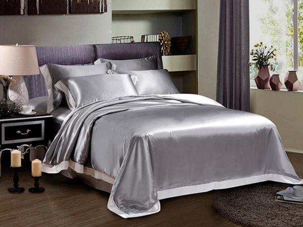 Шелковое постельное белье Luxe Dream Плаза Грей шелк 100%