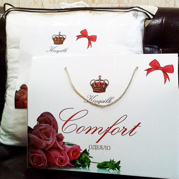 Упаковка шелковое одеяло с тенселем COMFORT всесезонное KingSilk