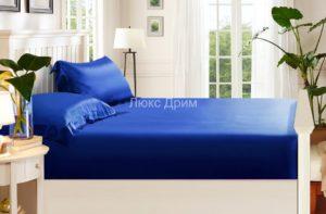 Шелковая простыня на резинке Luxe Dream 180/200 (Синий)
