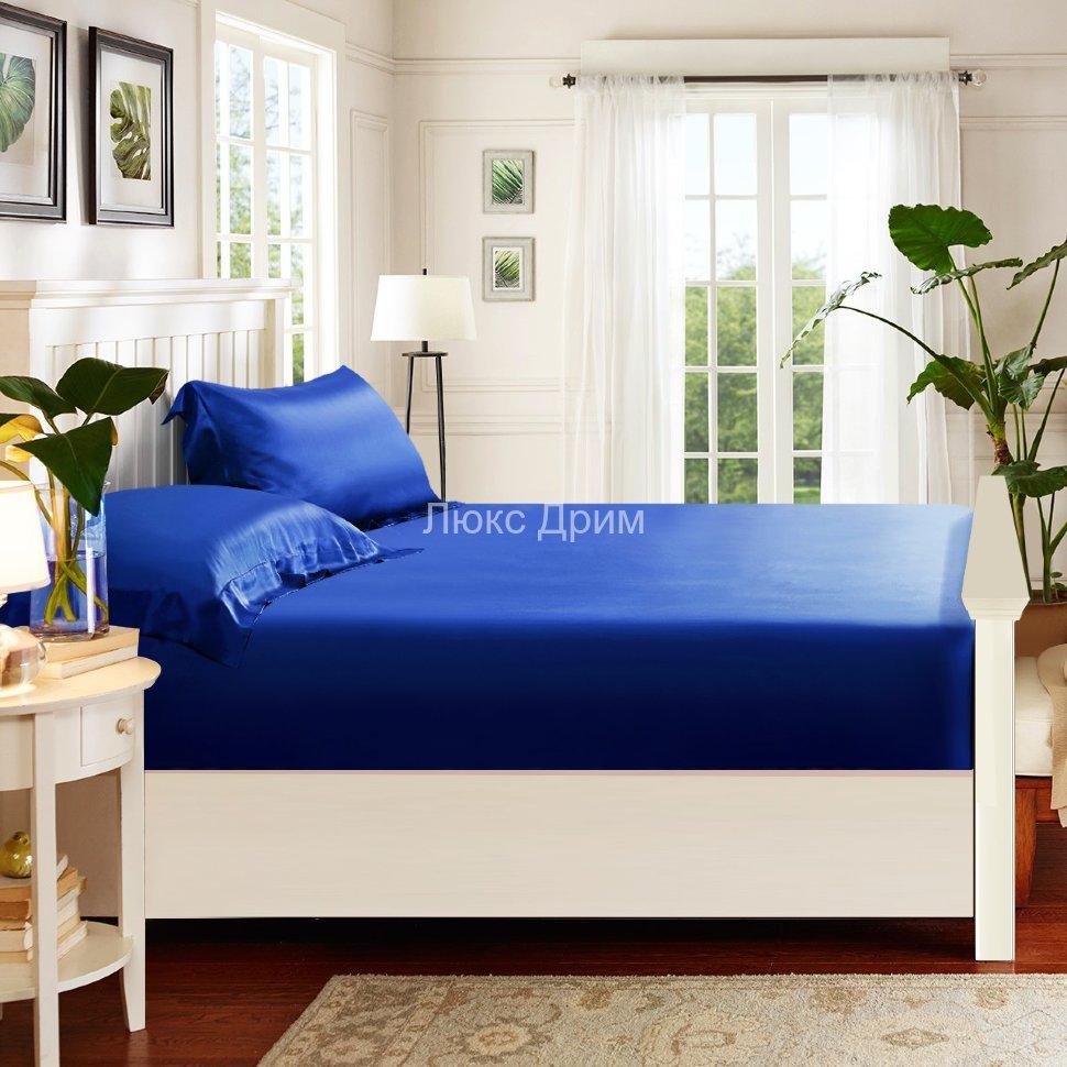 a7788a765f6e Шелковая простыня на резинке Luxe Dream 180/200 (Синий)