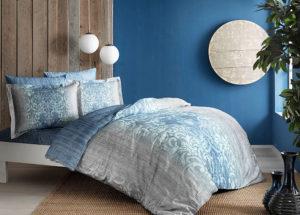 Постельное белье сатин TAC (Тач) LEORA голубой SATEN DELUX