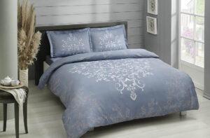 Постельное белье сатин TAC (Тач) ANISSA голубой SATEN DELUX
