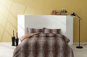 Постельное белье сатин TAC (Тач) LEOPARD коричневый SATEN