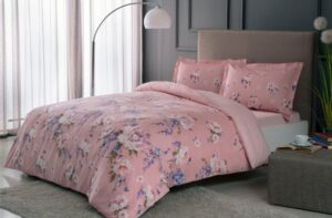 Постельное белье сатин TAC (Тач) RAIN розовый SATEN