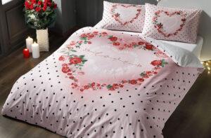 Постельное белье сатин TAC (Тач) LOVER розовый SATEN