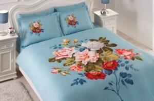 Постельное белье сатин TAC (Тач) GRACE голубой SATEN