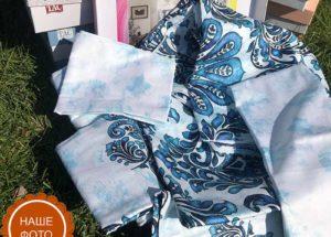 Постельное белье сатин TAC (Тач) SONIA синий SATEN DELUX